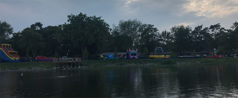 Bounce House Event on a lake