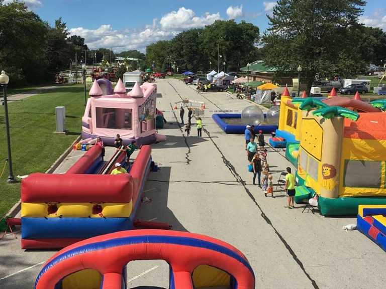 Bounce house units set up for an event in Schererville