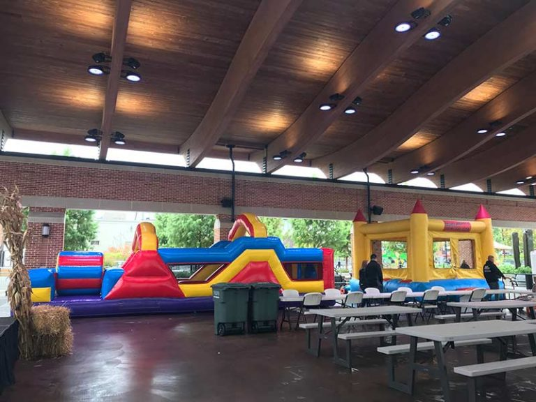Bounce house units set up for an event